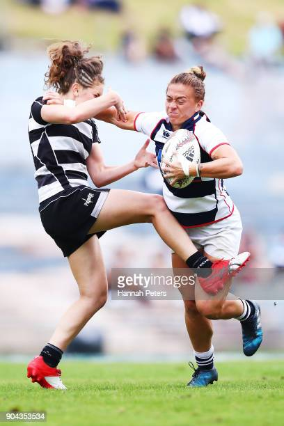 Niall Williams of Auckland makes a break during the Bayleys National Sevens match between Auckland and Hawkes Bay at Rotorua International Stadium on...