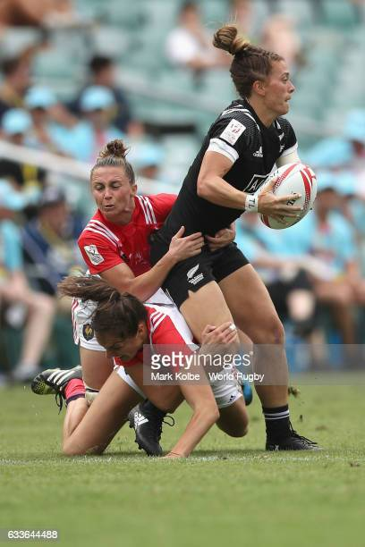 Niall Williams of New Zealand is tackled during the womens Pool A match between New Zealand and France in the 2017 HSBC Sydney Sevens at Allianz...