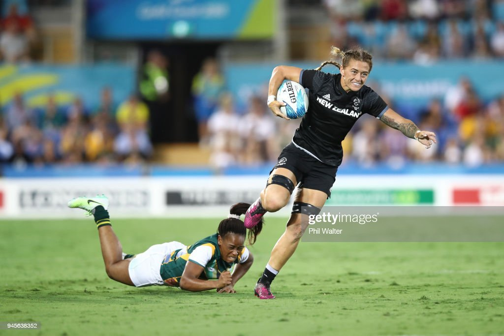 Niall Williams of New Zealand makes a break in the womens match between New Zealand and South Africa during Rugby Sevens on day nine of the Gold Coast 2018 Commonwealth Games at Robina Stadium on April 13, 2018 on the Gold Coast, Australia.