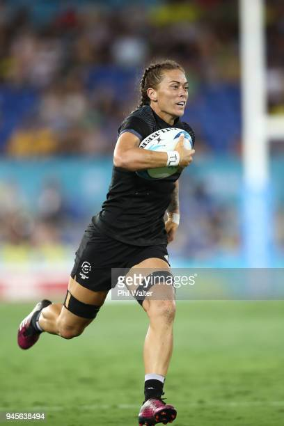 Niall Williams of New Zealand makes a break in the womens match between New Zealand and South Africa during Rugby Sevens on day nine of the Gold...