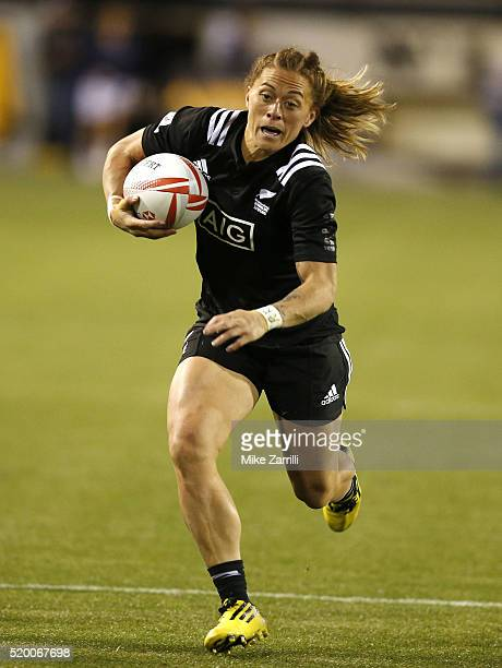 Niall Williams of New Zealand runs with the ball during the Final match against Australia at Fifth Third Bank Stadium on April 9 2016 in Kennesaw...