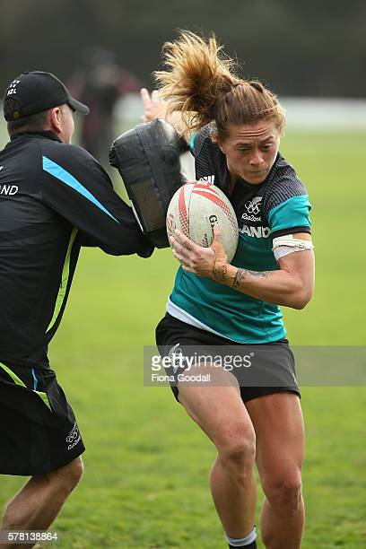 Niall Williams with the ball during a New Zealand Women's Sevens Rugby Training Session at King's College on July 21 2016 in Auckland New Zealand