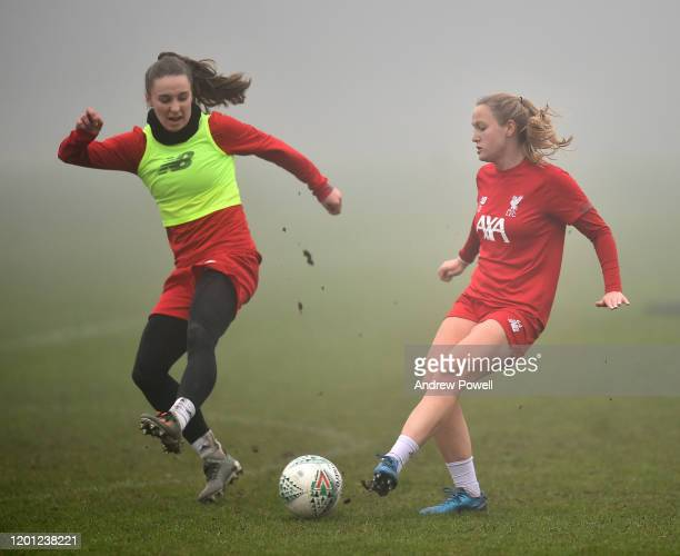 Niamh Charles and Jemma Purfield of Liverpool Women Women during a training session at Solar Campus on January 22 2020 in Wallasey England