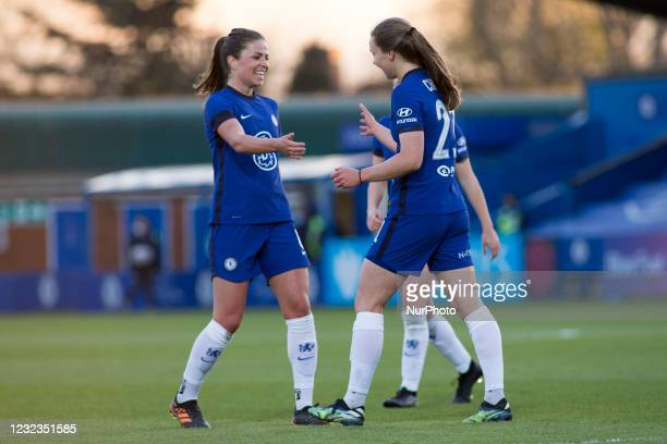 Niamh Charles celebrates after scoring during the 2020-21 FA Womens Cup fixture between Chelsea FC and London City at Kingsmeadow on April 16, 2021...