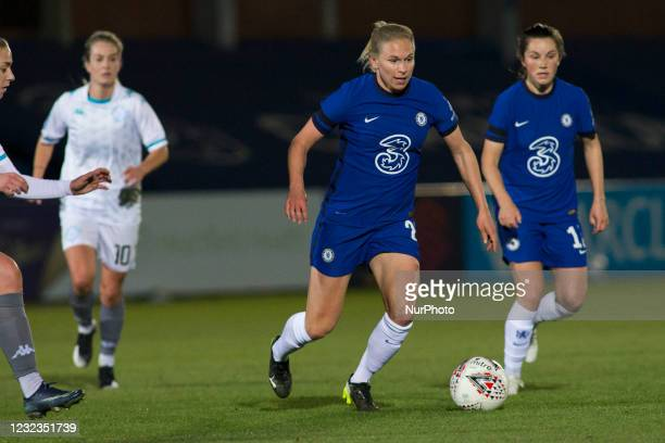 Niamh Charles controls the ball during the 2020-21 FA Womens Cup fixture between Chelsea FC and London City at Kingsmeadow on April 16, 2021 in...