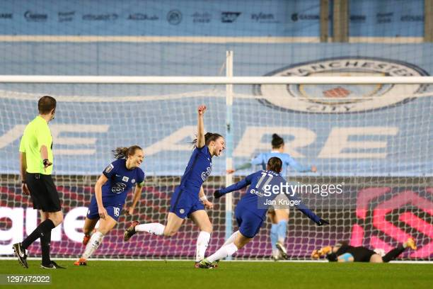 Niamh Charles of Chelsea celebrates with team mates Magdalena Eriksson and Guro Reiten after scoring their side's second goal during the FA Women's...