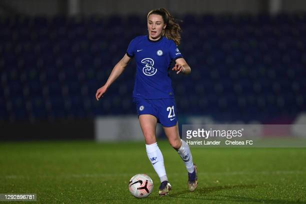 Niamh Charles of Chelsea runs with the ball during the UEFA Women's Champions League round of 32 second leg match between FC Chelsea Women and SL...