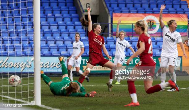 Niamh Charles of Liverpool FC Women scores during the Barclays FA Women's Super League match between Liverpool and West Ham United at Prenton Park on...
