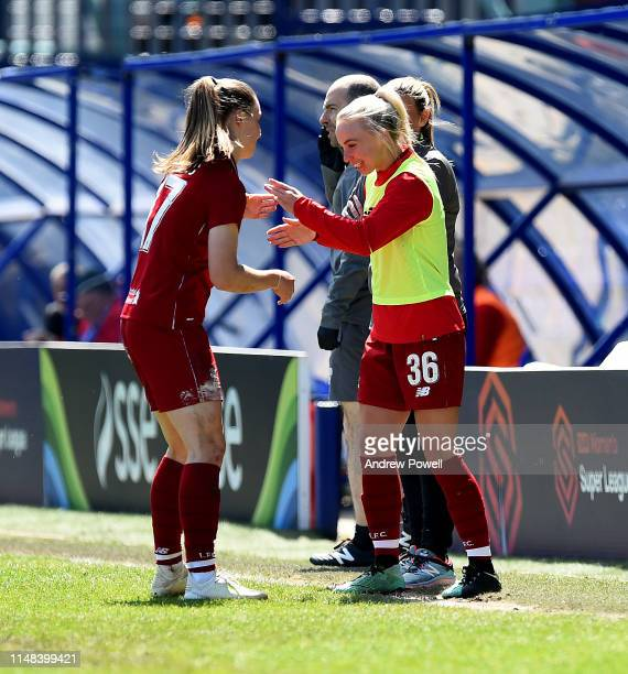 Niamh Charles of Liverpool Women celebrating with Ashley Hodson after scoring the second goal during the WSL match between Liverpool Women and...