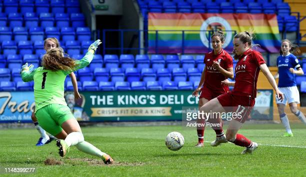 Niamh Charles of Liverpool Women scoring the second goal during the WSL match between Liverpool Women and Everton Ladies at Prenton Park on May 11,...