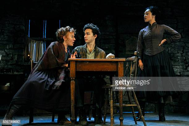 Niamh Cusack as Widow Quin Robert Sheehan as Christopher Mahon and Ruth Negga as Pegeen Mike in John Millington Synge's The Playboy of the Western...