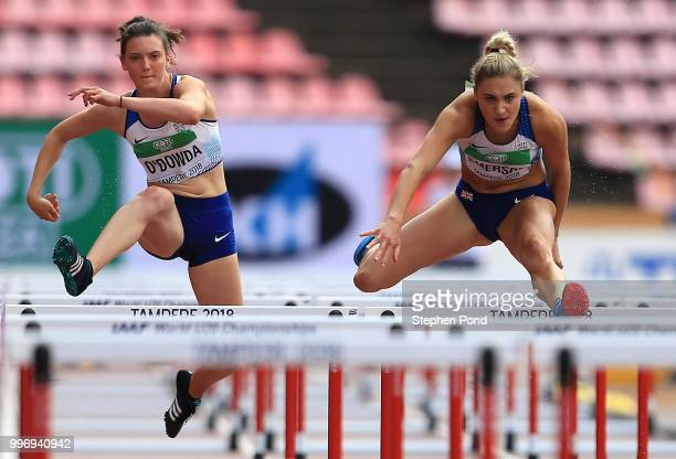 Niamh Emerson and Jade O'Dowda of Great Britain compete in the Women's Decathlon 100m Hurdles on day three of The IAAF World U20 Championships on...