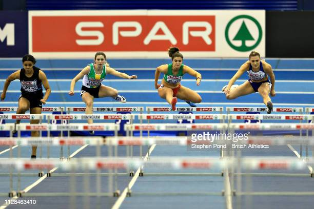 Niamh Emerson of Great Britain competes in Heat 1 of the Womens 60m hurdles during Day One of the SPAR British Athletics Indoor Championships at...