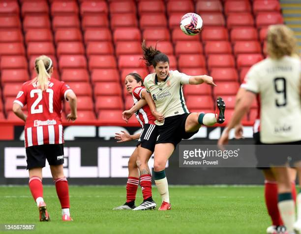 Niamh Fahey captain of Liverpool Women competing with Courtney Sweetman-Kirk of Sheffield United Women during the Barclays FA Women's Championship...