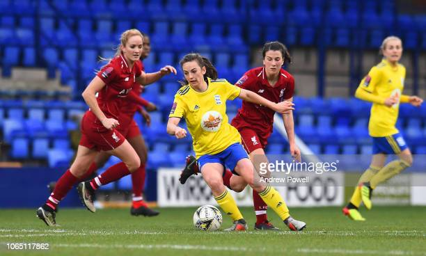 Niamh Fahey of Liverpool Women competes with Chloe Arthur of Birmingham City Women during the Womens Super League match between Liverpool Women and...