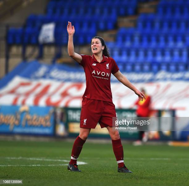 Niamh Fahey of Liverpool Women reacts during the Womens Super League match between Liverpool Women and Birmingham City Women at Prenton Park on...