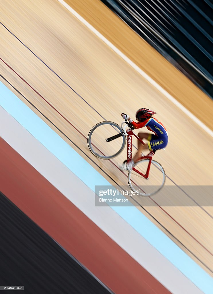 Niamh Fisher-Black of Tasman competes in the U17 Girls 2000m Individual Pursuit during the New Zealand Age Group Track National Championships on March 10, 2016 in Invercargill, New Zealand.