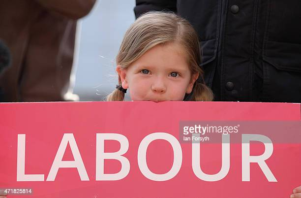 Niamh Hampton from Thornaby holds a Labour placard as she waits for former Deputy Leader of the Labour Party and Deputy Prime Minister Lord John...