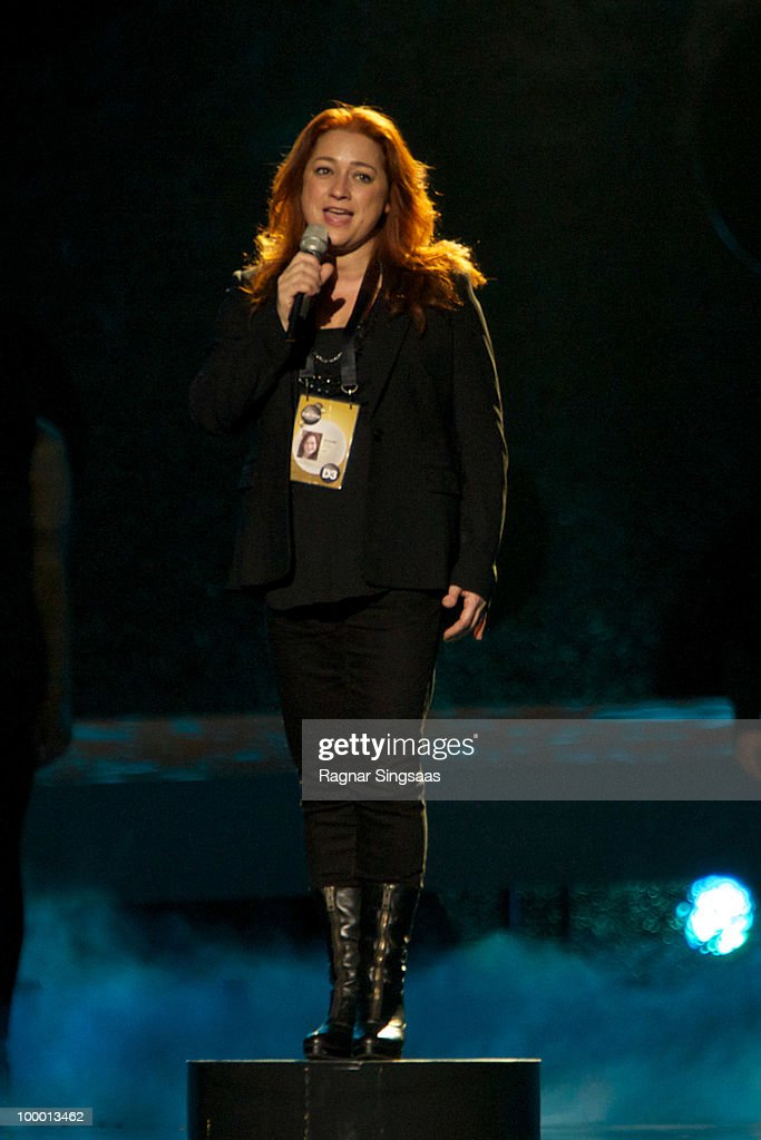 Niamh Kavanagh of Ireland performs at the open rehearsal at the Telenor Arena on May 19, 2010 in Oslo, Norway. In all, 39 countries will take part in the 55th annual Eurovision Song Contest. Semi-finals are scheduled to take place on May 25-27, with the final being held on May 29, 2010. The winner last year was Alexander Rybak from Norway with the song 'Fairytale'. on May 19, 2010 in Oslo, Norway.