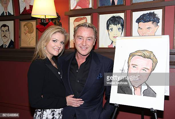 Niamh O'Brien and Michael Flatley attends the unveiling of the Michael Flatley caricature at Sardi's on December 11 2015 in New York City