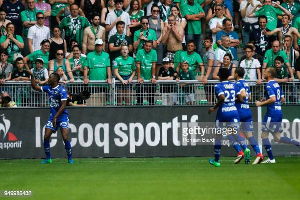Niane Adama of Troyes celebrate his goal during the Ligue 1 match between AS Saint Etienne and Troyes AC at Stade GeoffroyGuichard on April 22 2018...