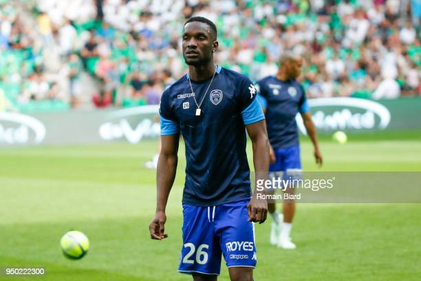 Niane Adama of Troyes during the Ligue 1 match between AS Saint Etienne and Troyes AC at Stade GeoffroyGuichard on April 22 2018 in SaintEtienne
