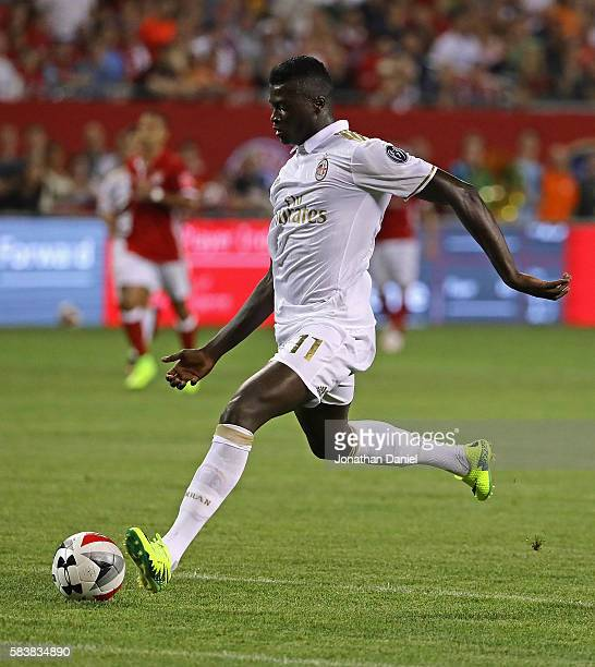Niang Mbaye of AC Milan shoots for a score against FC Bayern Munich during a friendly match in the International Champions Cup 2016 at Soldier Field...