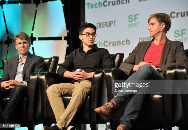 Niantic Inc CTO Phil Keslin The CurioPets Company CEO Nathan Kong and Escher Reality CEO Ross Finman speak onstage during TechCrunch Disrupt SF 2017...