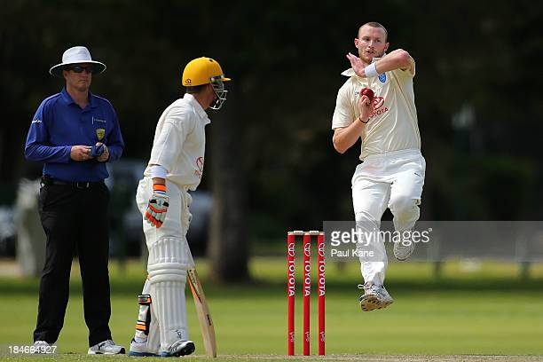Nic Bills of New South Wales bowls during day two of the Futures League match between Western Australia and New South Wales at Richardson Park on...