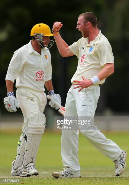 Nic Bills of New South Wales celebrates dismissing James Boyland of Western Australia during day three of the Futures League match between Western...