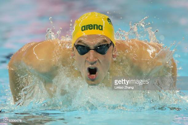 Nic Brown of of Australia competes in the Men's 4x100m Medley Relay on day 6 of the 14th FINA World Swimming Championships at Hangzhou Olympic Sports...