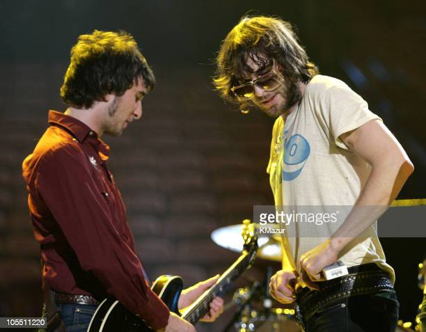Nic Cester and Chris Cester of Jet during 2004 MTV Video Music Awards Rehearsals Day 1 at American Airlines Arena in Miami Florida United States