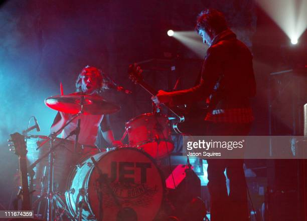 Nic Cester and Chris Cester of Jet during Jet performs in Kansas City on March 30 2004 at Liberty Hall in Lawrence Kansas United States