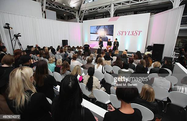 Nic Chapman and Sam Chapman from Pixiwoo on stage during a QA on day two of Stylist Magazine's first ever 'Stylist Live' event at the Business Design...