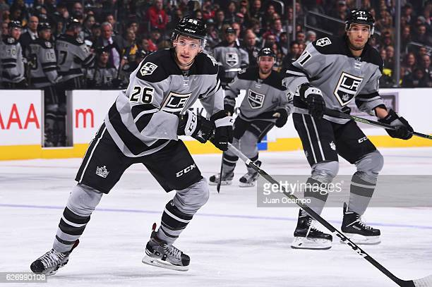 Nic Dowd and Jordan Nolan of the Los Angeles Kings skates during the game against the Chicago Blackhawks on November 26 2016 at Staples Center in Los...
