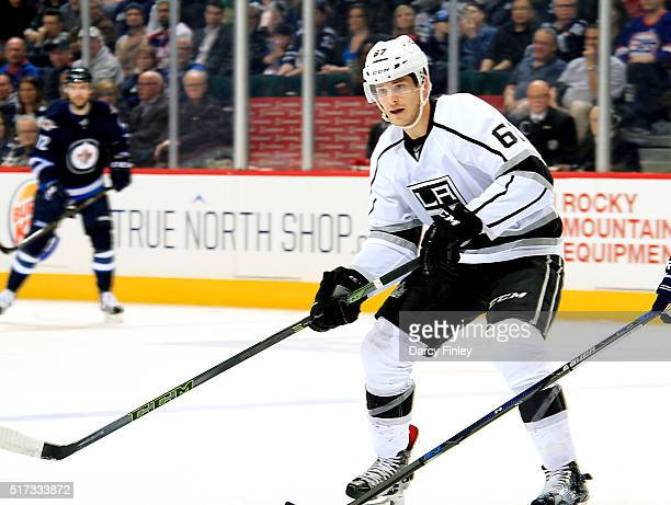 Nic Dowd of the Los Angeles Kings keeps an eye on the play during first period action against the Winnipeg Jets at the MTS Centre on March 24 2016 in...
