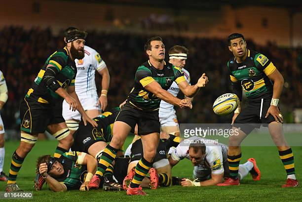 Nic Groom of Northampton Saints clears the ball from the scrum during the Aviva Premiership match between Northampton Saints and Exeter Chiefs at...