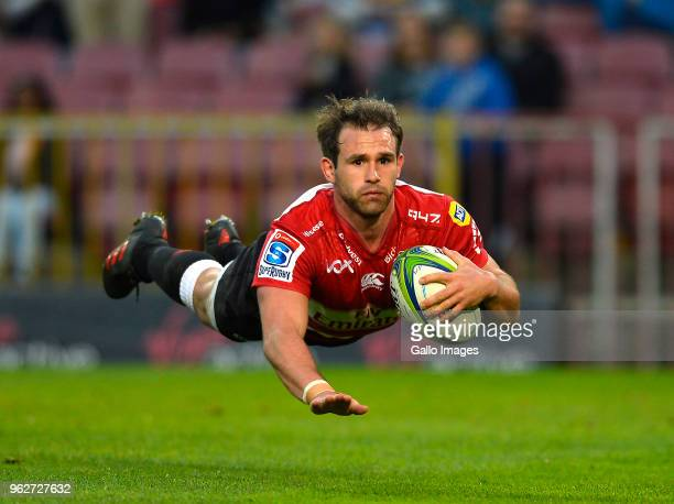 Nic Groom of the Lions scores a try during the Super Rugby match between DHL Stormers and Emirates Lions at DHL Newlands Stadium on May 26 2018 in...