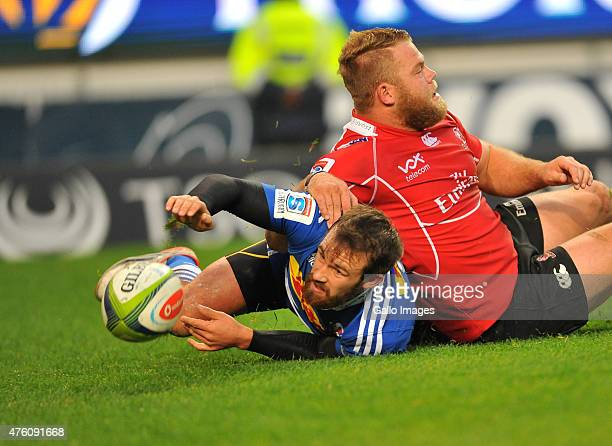 Nic Groom of the Stormers and Julian Redelinghuys of the Lions in action during the Super Rugby match between DHL Stormers and Emirates Lions at DHL...