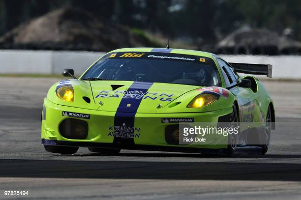 Nic Jonsson of Sweden drives the Risi Competizione/Krohn Racing Ferrari 430 GT during practice for the ALMS 12 Hours of Sebring at Sebring...