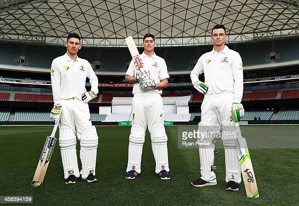 Nic Maddinson Matt Renshaw and Peter Handscomb of Australia pose during a portrait session at Adelaide Oval on November 22 2016 in Adelaide Australia