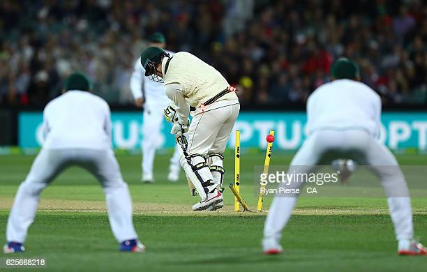 Nic Maddinson of Australia is bowled by Kagiso Rabada of South Africa during day two of the Third Test match between Australia and South Africa at...