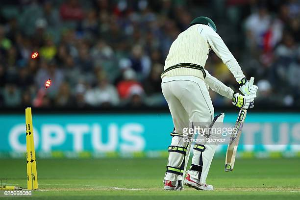 Nic Maddinson of Australia is dismissed by Kagiso Rabada of South Africa during day two of the Third Test match between Australia and South Africa at...