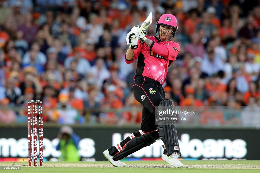 Nic Maddinson of the Sixers bats during the Big Bash League match between the Perth Scorchers and the Sydney Sixers at WACA on January 1, 2018 in Perth, Australia.