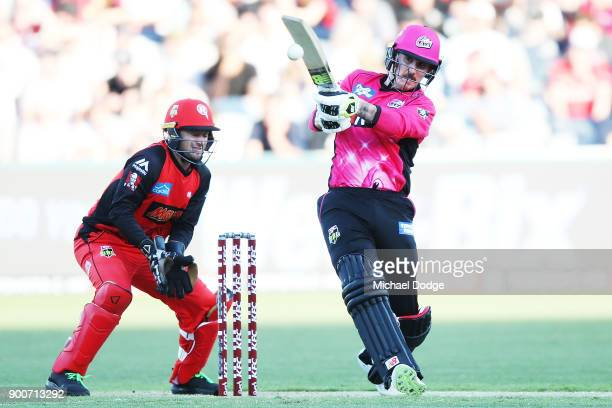 Nic Maddinson of the Sixers bats during the Big Bash League match between the Melbourne Renegades and the Sydney Sixers on January 3 2018 in Geelong...