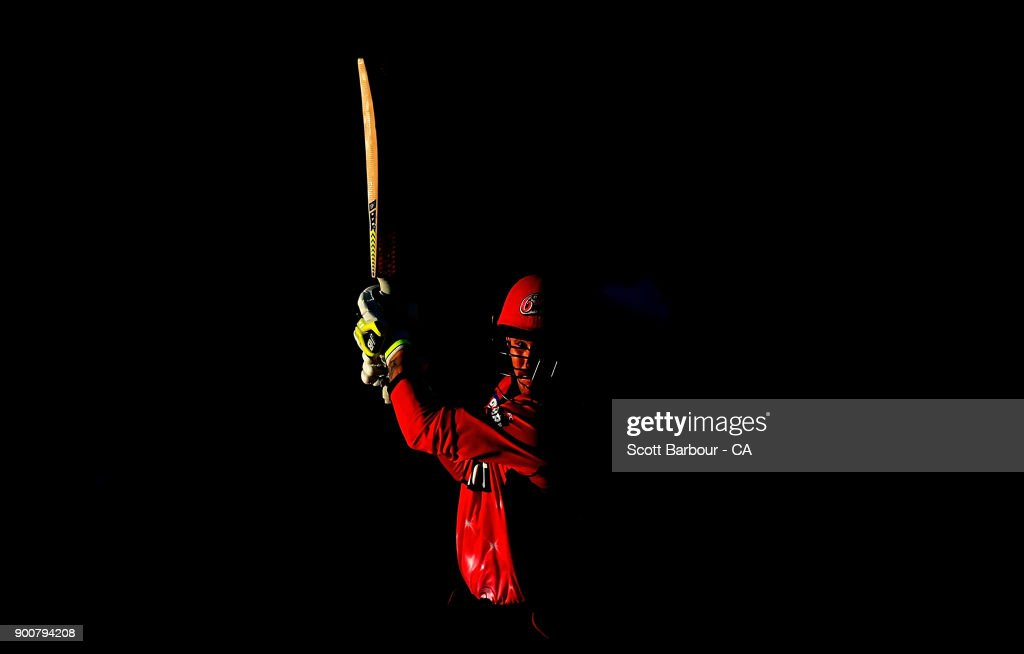 Nic Maddinson of the Sixers bats during the Big Bash League match between the Melbourne Renegades and the Sydney Sixers on January 3, 2018 in Geelong, Australia.