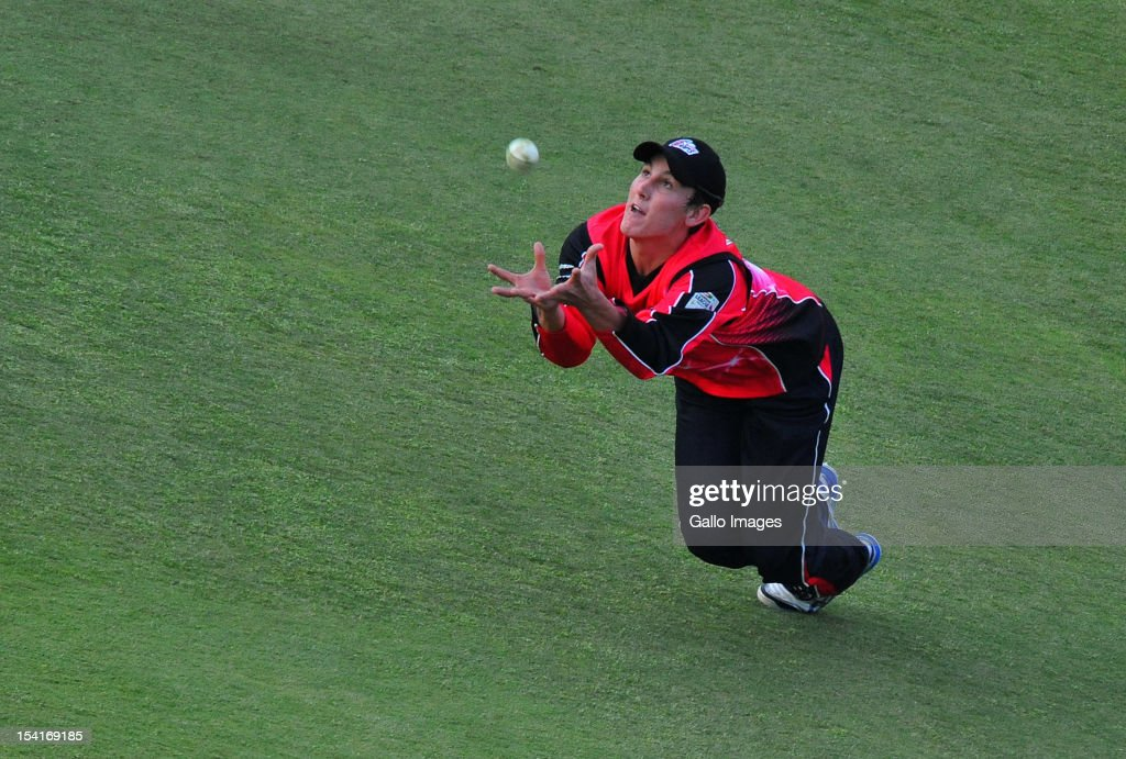 Nic Maddinson of the Sixers dives but spills a catch during the Champions League Twenty20 match between Chennai Super Kings and Sydney Sixers at Bidvest Wanderers Stadium on October 14, 2012 in Johannesburg, South Africa.