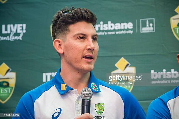 Nic Maddinson speaking at the Commonwealth Bank Test Series Launch at Queen Street Mall on December 11 2016 in Brisbane Australia