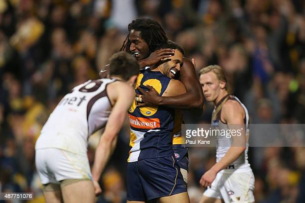 Nic Naitanui and Josh Hill of the Eagles celebrate a goal during the AFL Qualifying Final match between the West Coast Eagles and Hawthorn Hawks at...