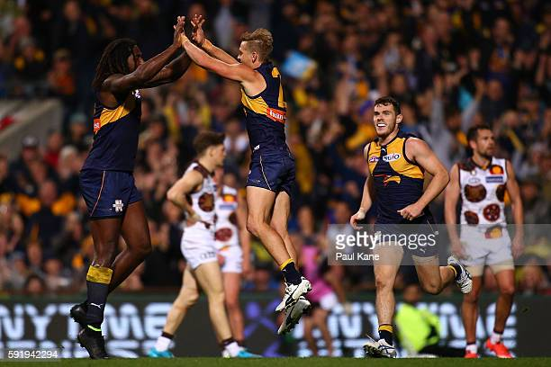 Nic Naitanui and Mark LeCras of the Eagles celebrate a goal during the round 22 AFL match between the West Coast Eagles and the Hawthorn Hawks at...